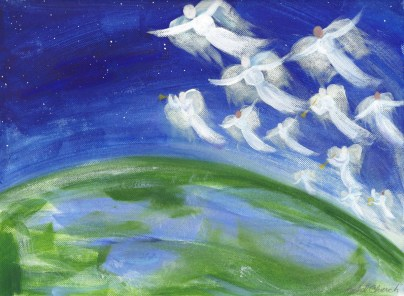 """""""angels from the realms of glory, wing your flight or' all the earth!"""", 9""""x12"""", acrylic on canvas, 2014 - SOLD"""