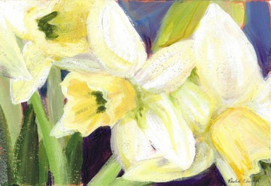 daffodils, 5″x7″, acrylic on paper, 2012 - SOLD