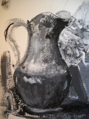 detail of black and white study , acrylic on paper, 2009