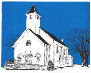 "Friendship United Methodist Church, 8""x10"", custom screenprint, 2015 - SOLD"