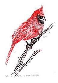 cardinal, moku hanga woodblock print, 2012