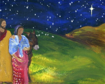 holy family traveling by starry night, 8″ x 10″ acrylic on unstretched canvas, 2013