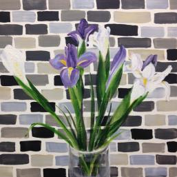 Irises and tiles, 18″x18″ acrylic on canvas, 2014