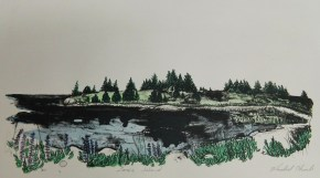 """Lane's Island"", Vinalhaven, Maine, lithograph with screenprinting on stone-colored paper, 2015"