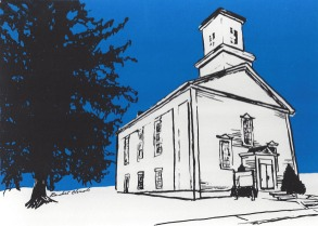 North Grosvenordale United Methodist Church, custom screenprint, 2015 - SOLD