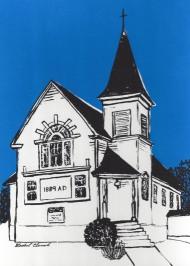 "Oneco United Methodist Church, 5""x7"", custom screenprint, 2015 - SOLD"