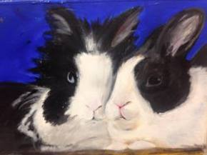 "custom pet portrait, 5""x7"", acrylic on paper, 2015 SOLD"