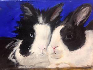 "custom pet portrait, 5""x7"", acrylic on paper, 2015 SOLD"
