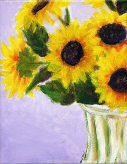 sunflowers, 8″ x 10″, acrylic on canvas, 2011