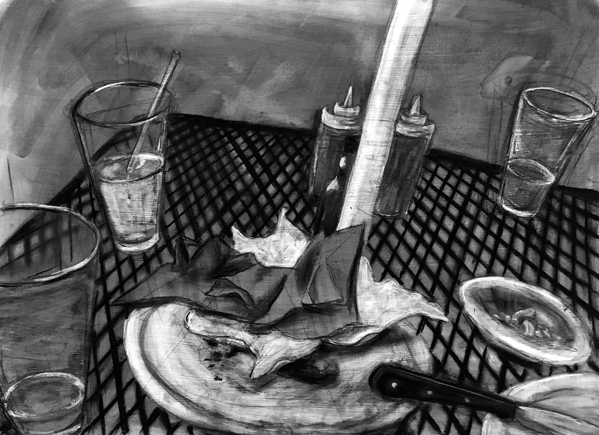 charcoal drawing of metal patio table-scape with half empty glasses, dirty dishes, crumpled napkins, and condiment bottles