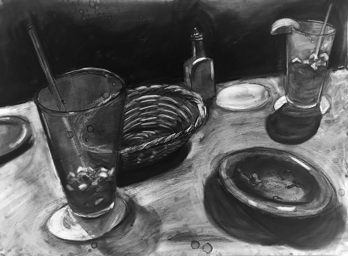 charcoal drawing of table-scape with half empty glasses, dirty dishes, empty basket, and condiment bottles