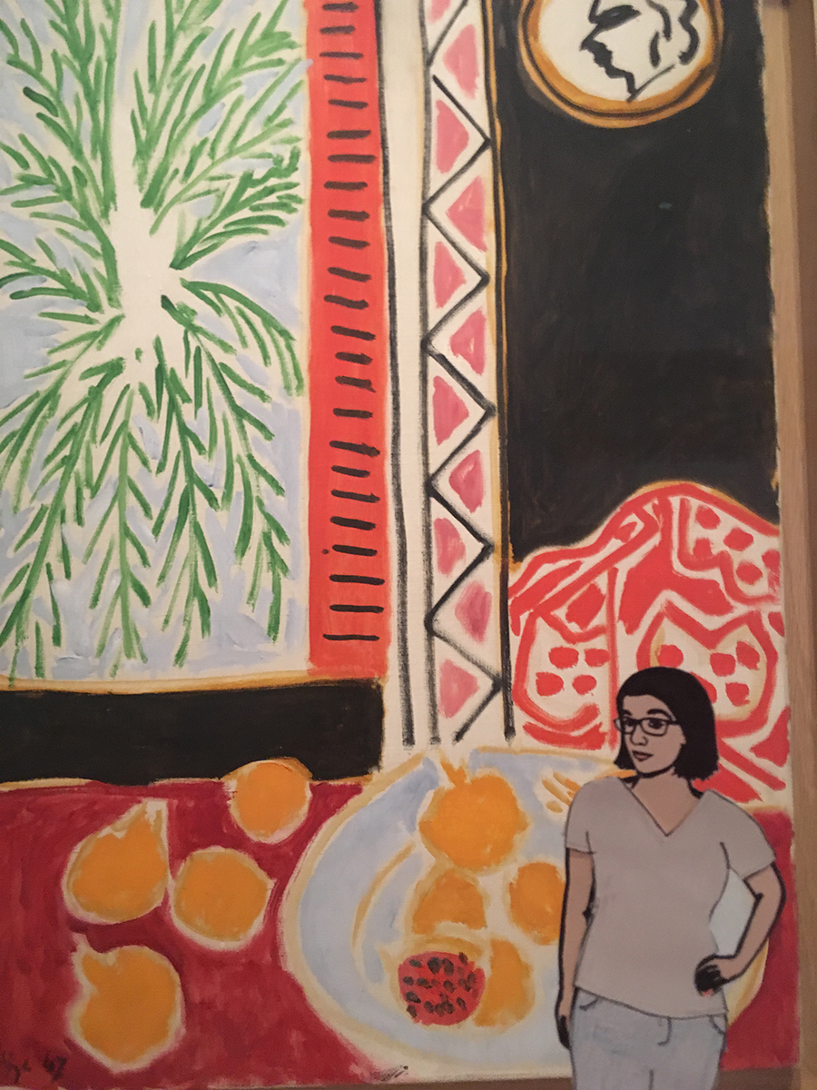 paper doll of the artist in front of Matisse painting