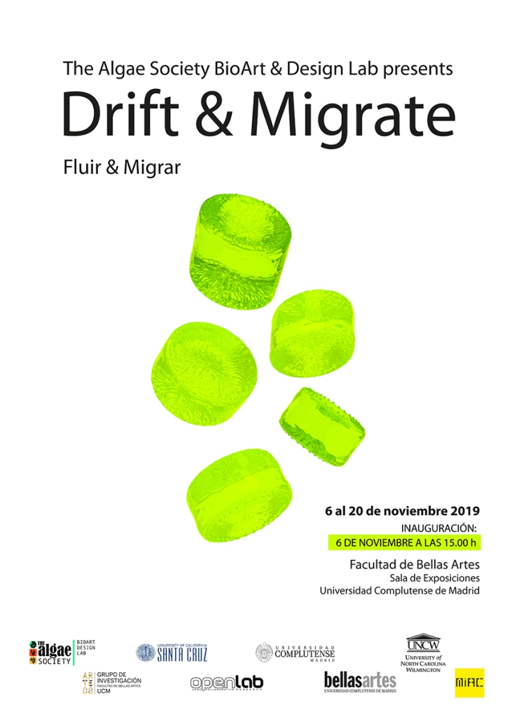 Poster for The Algae Society & BioArt Design Lab Presents Drift & Migrate. Full text below.