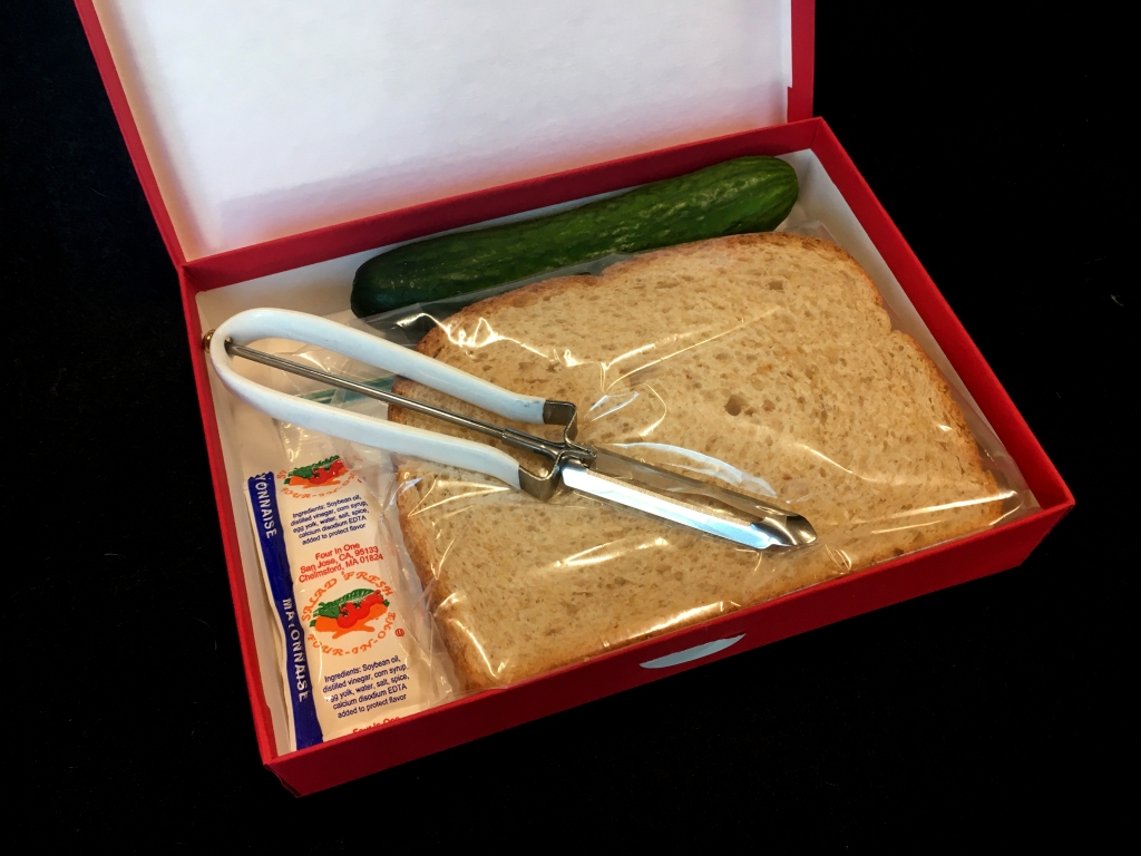 open box with vegetable peeler, two slices or bread, cucumber, and mayo packet.