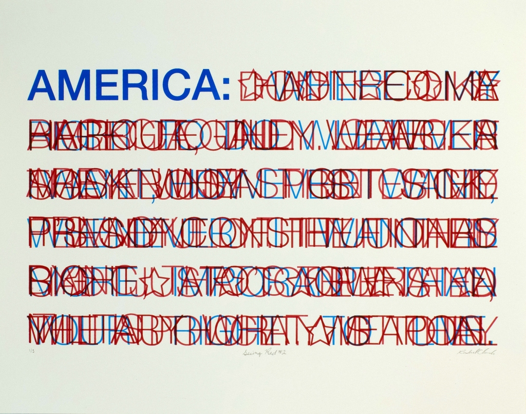 "screen print in the design of an abstract American Flag. Blue text at the top left reads ""America:"" 6 red stripes are made from layers of red text printed on top of each other until illegible."
