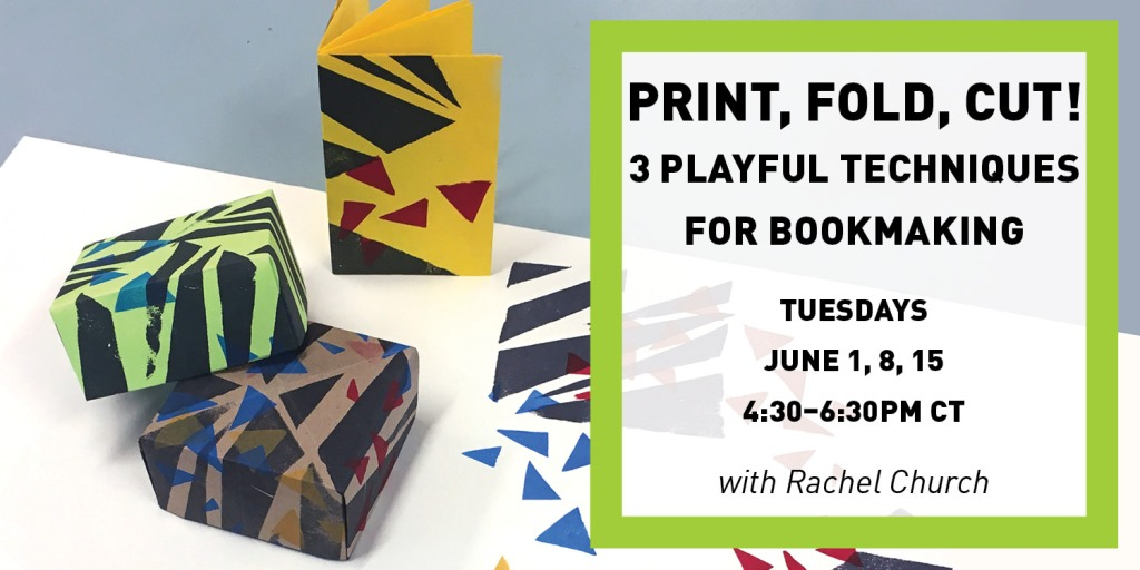 Photo of paper boxes and folded books printed with geometric shapes. Text in image listed in paragraph below.